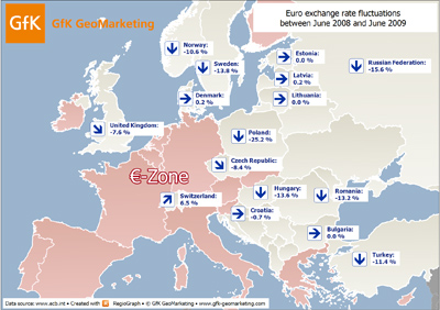 Currency exchange rate trends in Europe - GfK GeoMarketing