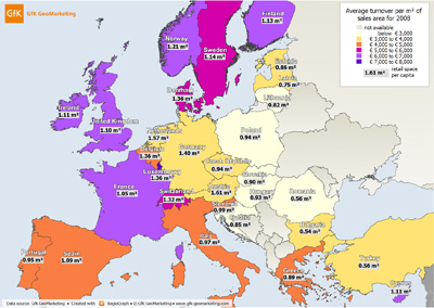 Sales-area productivity in Europe - GfK GeoMarketing